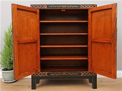 chinesische kommode hochzeitschrank massivholz mit echt hand bemalung y533 ebay. Black Bedroom Furniture Sets. Home Design Ideas